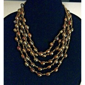Gold Tone Collar Necklace Irridescent Seed Bead